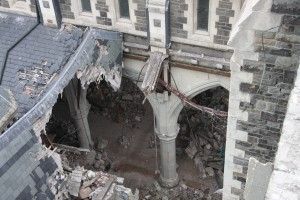 Earthquake damage from the collapsed tower – Christchurch Cathedral